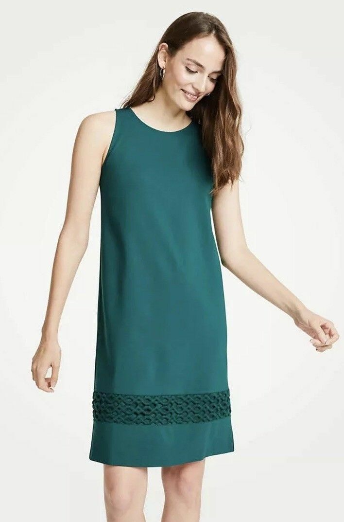 Ann Taylor Dress 00P Petite Lace Hem Sleeveless Cypress Green Shift Ponte New