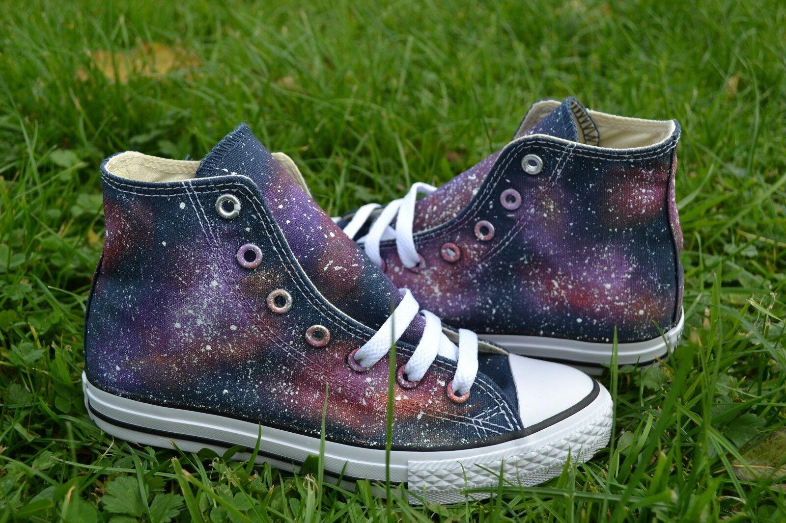 Galaxy Converse - Hand Painted & Made to Order. Hi Top Chuck Taylors