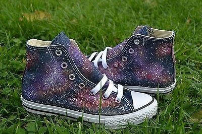 Galaxy Converse handbemalt & maßgefertigte. Hi Top Chuck Schneider | eBay