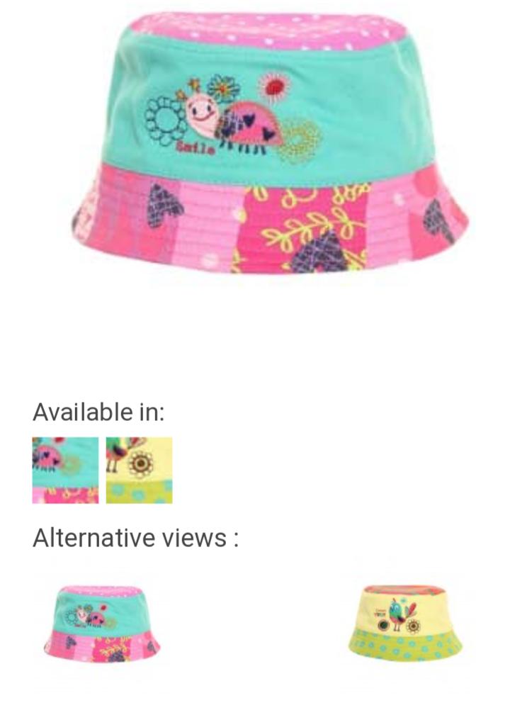 Jiglz Girls/'Ladybird and Birdie Design Bucket Sun Hat-Sizes-46-48-50 cm-Cotton
