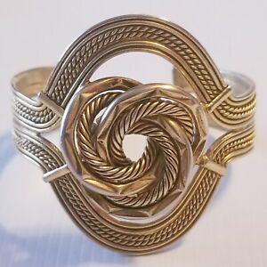 NISSA-JEWELRY-Bracelet-Cuff-Gold-Tone-Twisted-Big-Knot-Egyptian-Look-Textured