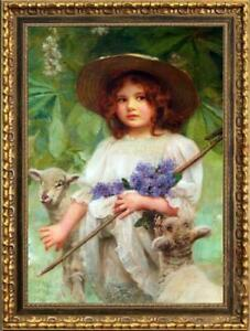 Old-Master-Art-Antique-Oil-Painting-Portrait-girl-sheep-on-canvas-24-034-x36-034