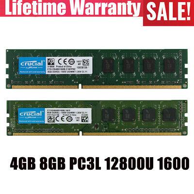 Crucial 4GB 2RX8 DDR3L 1600MHz PC3L-12800U Desktop Memory RAM DIMM Intel 1.35V #