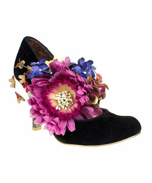 Irregular Choice London Splish Splash noir fleurs Pompe Talons Chaussures 7.5 NEW IN BOX