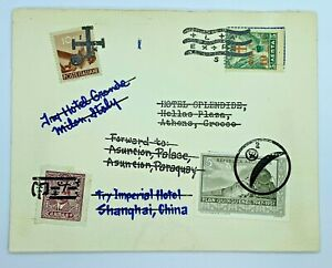 RARE CINDERELLA COVER WITH CHINA, ITALY, GREECE ARGENTINA STAMPS