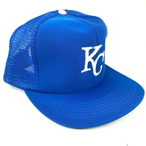 Vintage-Kansas-Ciudad-Realeza-Unbranded-Gorra-Plana-Malla-Trucker-Azul-Blanco-Kc