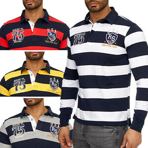 Hommes-Polo-Manches-Longues-Basic-Slim-Fit-College-Pull-polo-rugby-col-NEUF