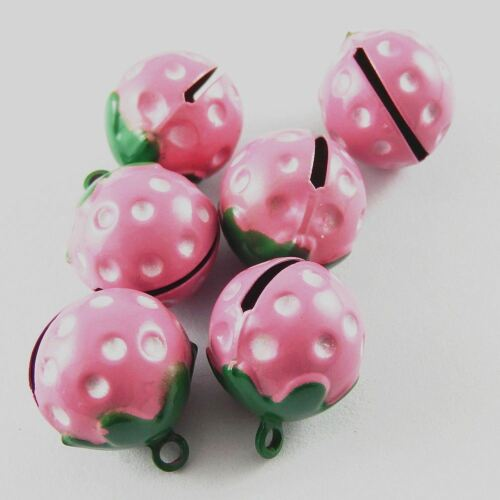Green/&Pink Tone Cute Strawberry Bells Brass Pendants Charms Crafts 10pcs 51925