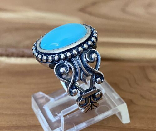 sterling silver ring Vintage Size 8 southwestern style stamped 925 AVON 010498 handmade 925 silver ring with turquoise