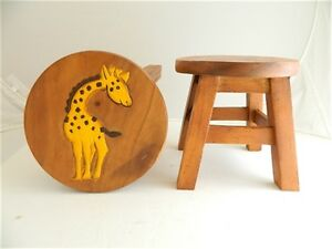 Childs childrens wooden stool giraffe step stool ebay