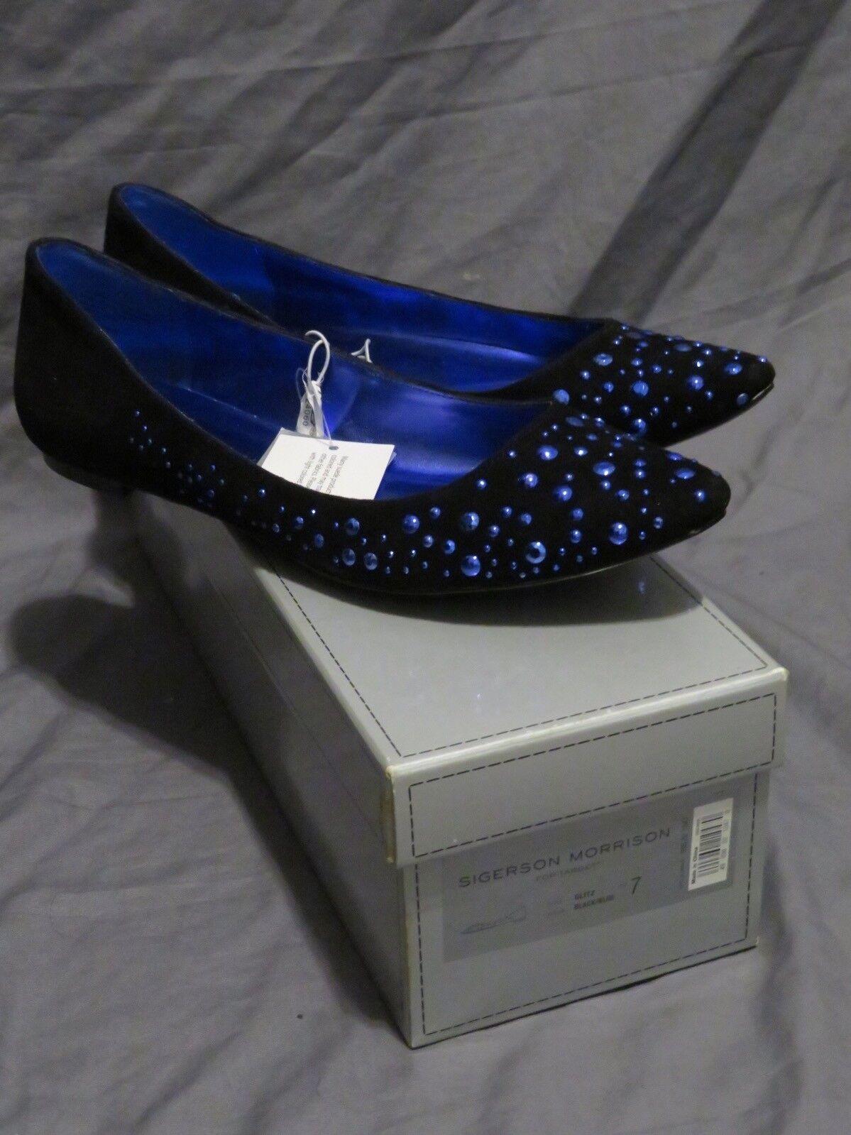 New Women's Sigerson Morrison Glitz Glitz Glitz Black Suede  bluee Studded Ballet Flats Sz 7 06ec36