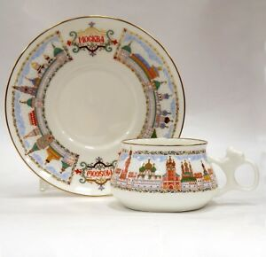 Coffee-Cup-amp-Saucer-Lomonosov-Porcelain-Moscow-Golden-domes-IFZ-Russia
