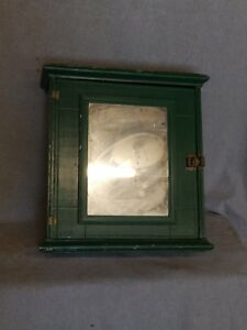 Antique Green Wood Surface Wall Mount Medicine Cabinet Shabby Vtg