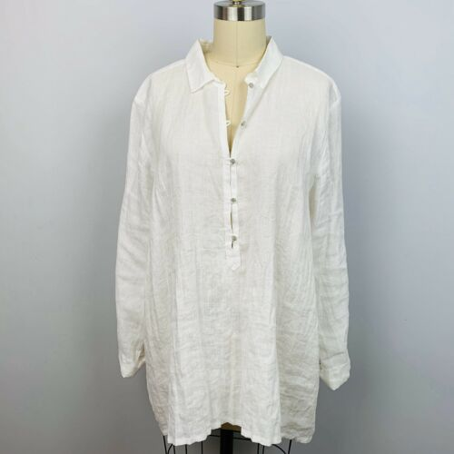 Eileen Fisher Button Down Shirt L/S Irish Cotton C