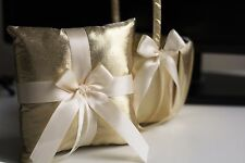 Gold Flower Girl Basket and Bearer Pillow Set  Gold Wedding Ring Pillow Basket