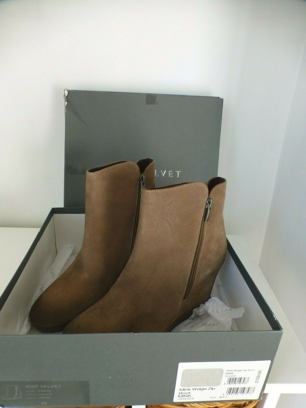 Gorgeous Mint Velvet Mink  Taupe  Beige Wedge Boot (7 4) zip New with box
