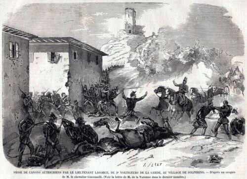 BATTAGLIA DI SOLFERINO Presa Cannoni Austriaci Risorgimento.Stampa Antica.1859
