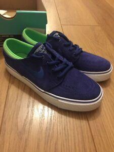 Junior-Nike-Stefan-Janoski-SB-Trainers-Blue-Suede-Sz-3-BNIB