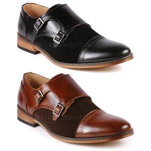 Two-Tone-Men-039-s-Cap-Toe-Double-Monk-Strap-Oxford-Classic-Dress-Shoes