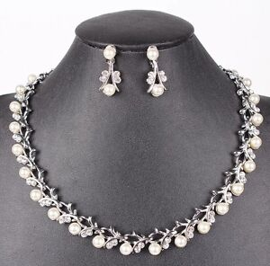 Bridal-Wedding-Necklace-Jewellery-Ivory-Pearl-amp-Crystal-3pc-Set