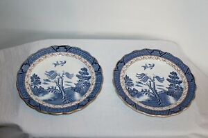 Pair-Booths-Real-Old-Willow-Plates-Blue-amp-Gold-Made-In-England-Japanese-Theme