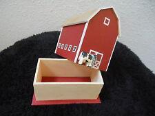 Wooden Playing Card Storage Box Barn Holstein Cow Farm