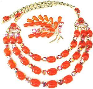 SELRO Signed Amazing Bright Orange Jelly Bean Vintage Necklace Pin Set