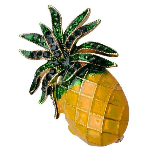 Diseño de fruta piña Broche De Esmalte Cristal con Solapa Pins Pin de Traje Sombrero Bufanda