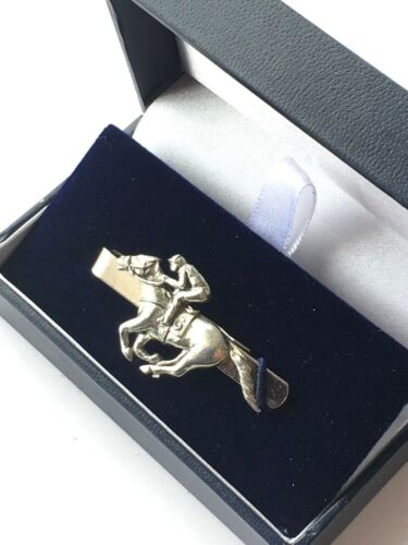 Race Horse and Jockey Personalised made from English Pewter Tie Slide N404