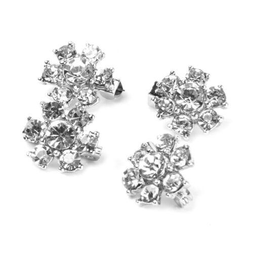 4 Stueck Mini Silber Blume Pin Brosche Clips Strass Dekoration Hochzeit 1,5 J7J5