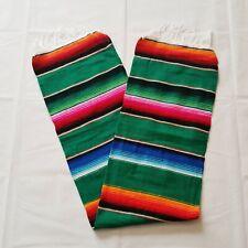 Mexican Falsa Blanket *Yoga mat* Aztec Southwest Mint,Blue /& Green Serape XL