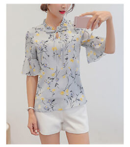 Women-Ladies-Chiffon-T-Shirt-Floral-Print-Short-Sleeve-Blouse-Casual-Tops