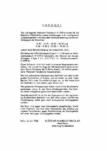 Werkstatthandbuch DEUTZ 15-24PS D25 D25S D25.1 D25.1S