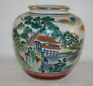 VINTAGE-GENUINE-KUTANI-JAPAN-HAND-PAINTED-VASE-JAPANESE-GARDEN