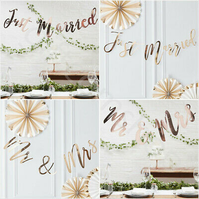 Just Married Rose Gold Bunting Banner Wedding Decoration Garland Backdrop 1.5m