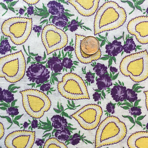 Vintage-Partial-Feed-Sack-Lovely-Yellow-Hearts-amp-Purple-Roses-Love-Theme-22-034-x18-034