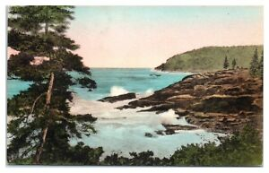 View-on-Ocean-Drive-Bar-Harbor-Maine-Hand-Colored-Postcard
