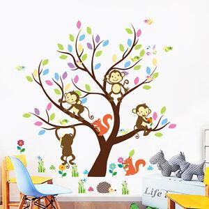 Details zu Wandtattoo Baum Affe Wandaufkleber Wandsticker Kinderzimmer Baby  Wald Äffchen
