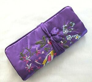 CHINESE-SILK-PURPLE-EMBROIDERED-JEWELERY-ROLL-MAKE-UP-COSMETIC-BAG-CASE-JAPANESE