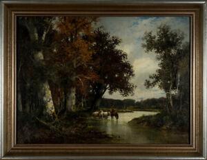 Adolf Kaufmann (1848-1916), Drinking end Horses in Autumn Forest, Oil on Canvas