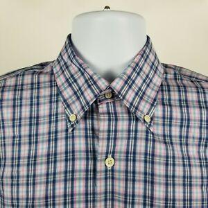 Peter-Millar-100-Cotton-Mens-Blue-Pink-White-Check-Dress-Button-Shirt-Medium-M