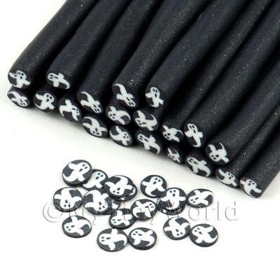 11nc15 Nail Art 3x White Ghost With Black Glitter Surround