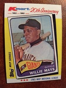 Details About 1982 Topps Kmart 20th Anniversary Baseball Card 8 Willie Mays