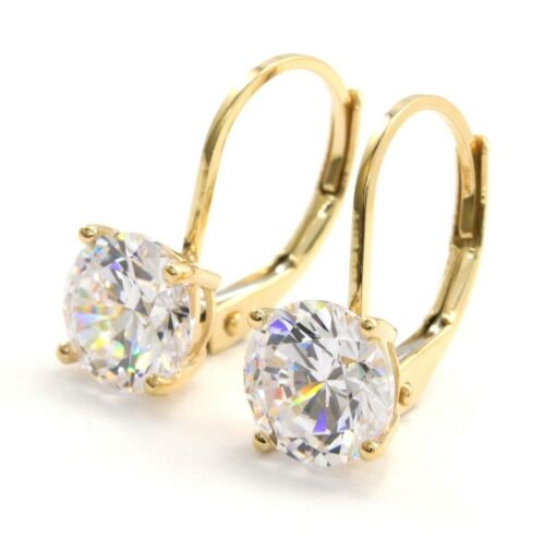 3 Ct Round Earrings Lever Back Real Solid 14K Yellow Gold Brilliant Cut Basket