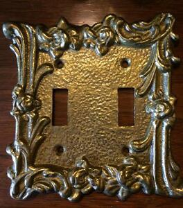 Image Is Loading Solid Br Vintage Ornate Rose Double Light Switch