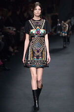 Valentino (Sz. US2 - loose) $11K NWT Fall2015 Embroidered Fleece n Leather Dress