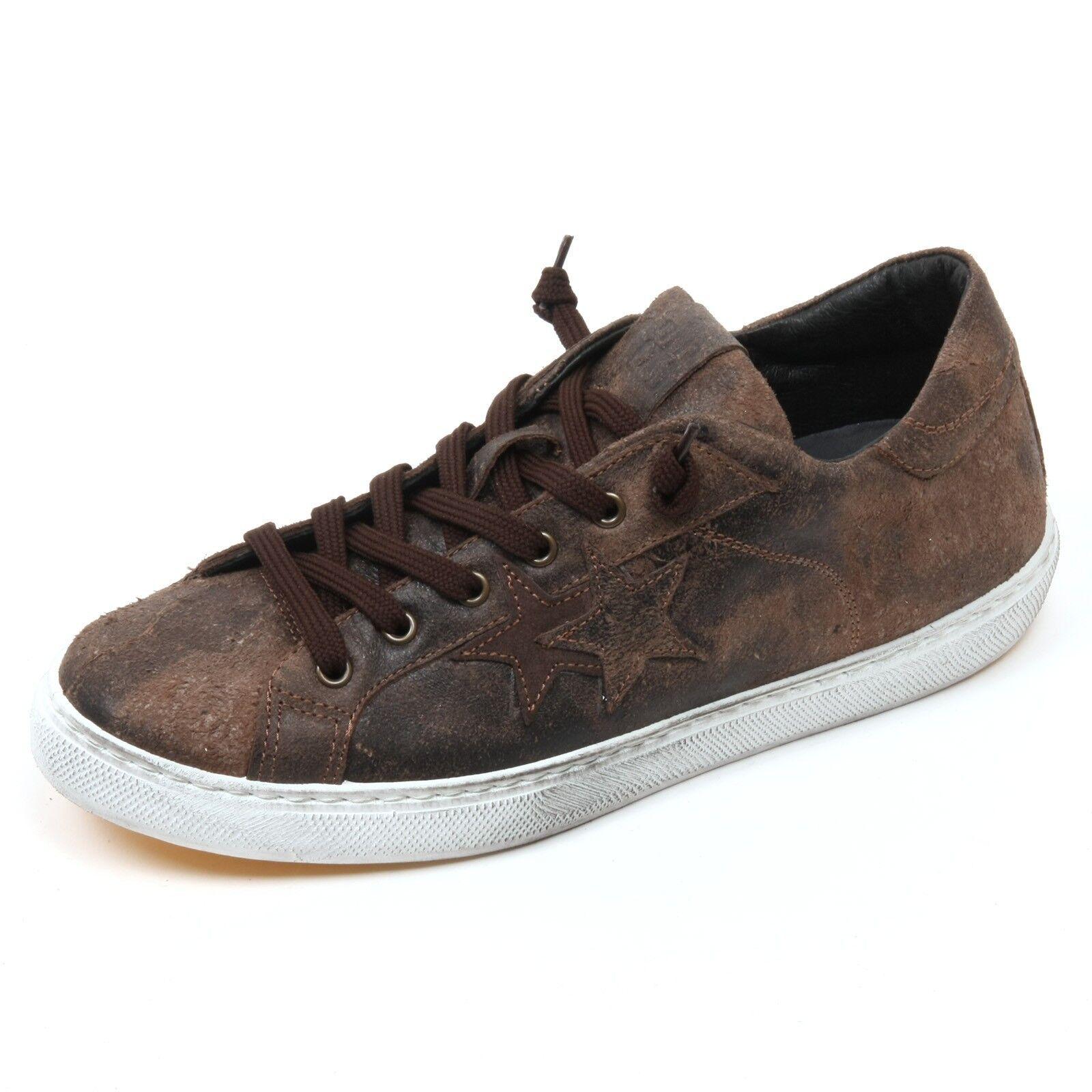C4030 sneaker uomo 2STAR scarpa marrone scuro shoe man