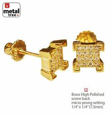 Iced Out 3D Cube Block Gold Plated 4x4 Pave CZ Setting Screw Back Earring 970 G