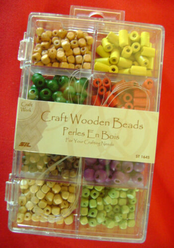 Nouveau en Bois Artisanat Perles Assortiment de 8 Formes Couleurs Plastique section conteneur.
