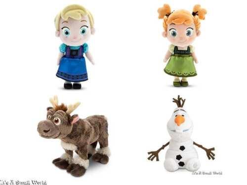 "Disney Store Toddler Elsa Anna 12"" Sven 11"" & Olaf 9"" Soft Plush Doll Set Frozen"